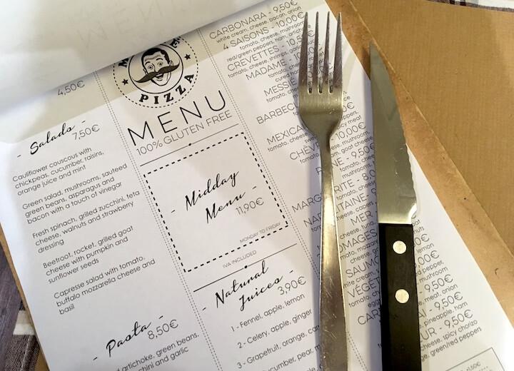 messié sans gluten menu