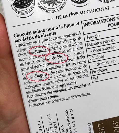 lindt chocolat ingredients tablette gluten
