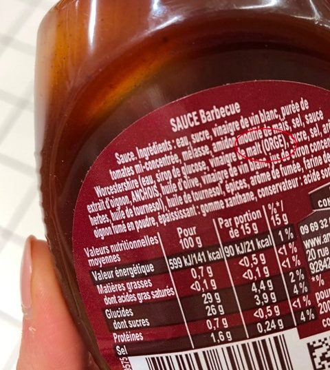 ingredients sauce bbq amora gluten